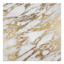Chic Elegant White and Gold Marble Pattern Poster