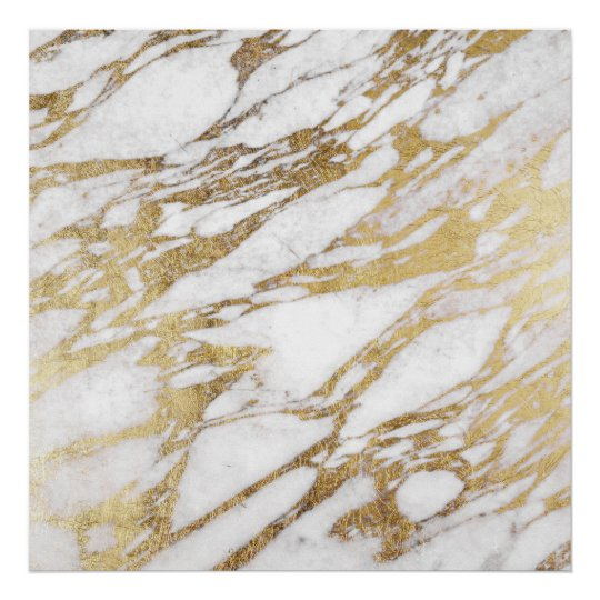 Chic Elegant White And Gold Marble Pattern Poster Zazzle Com