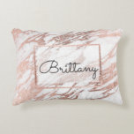 "Chic Elegant White and Rose Gold Marble Monogram Decorative Pillow<br><div class=""desc"">This chic and elegant white and faux printed rose gold marble pattern is perfect for the trendy and stylish woman. Its glamorous and swanky design is great for many gifts and occasions. Enjoy this pretty and popular print for your next purchase! Just customize this design with your own personalized monogram...</div>"