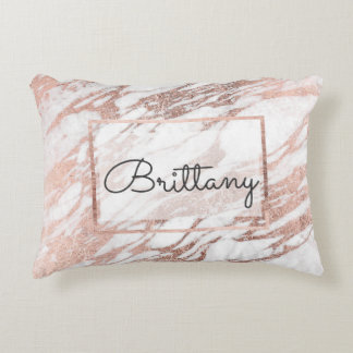 Chic Elegant White and Rose Gold Marble Monogram Decorative Pillow