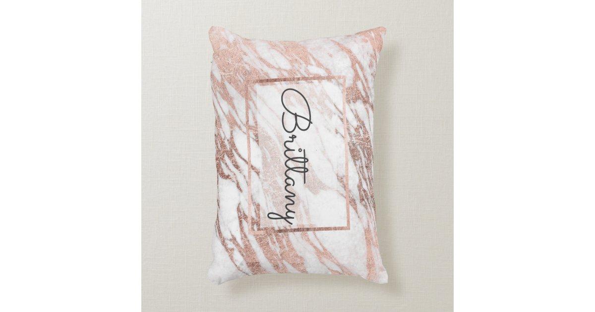 Chic Elegant White and Rose Gold Marble Monogram Decorative Pillow Zazzle