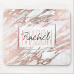 "Chic Elegant White and Rose Gold Marble Monogram Mouse Pad<br><div class=""desc"">This chic and elegant white and faux printed rose gold marble pattern is perfect for the trendy and stylish woman. Its glamorous and swanky design is great for many gifts and occasions. Enjoy this pretty and popular print for your next purchase! Just personalize this custom monogram with your own name!...</div>"