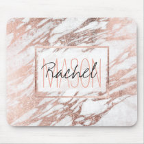 Chic Elegant White and Rose Gold Marble Monogram Mouse Pad