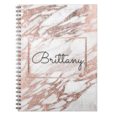 Chic Elegant White and Rose Gold Marble Monogram Notebook