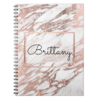 Chic Elegant White and Rose Gold Marble Monogram Spiral Notebook