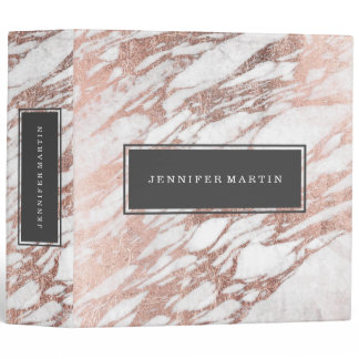 Chic Elegant White and Rose Gold Marble Pattern Binder