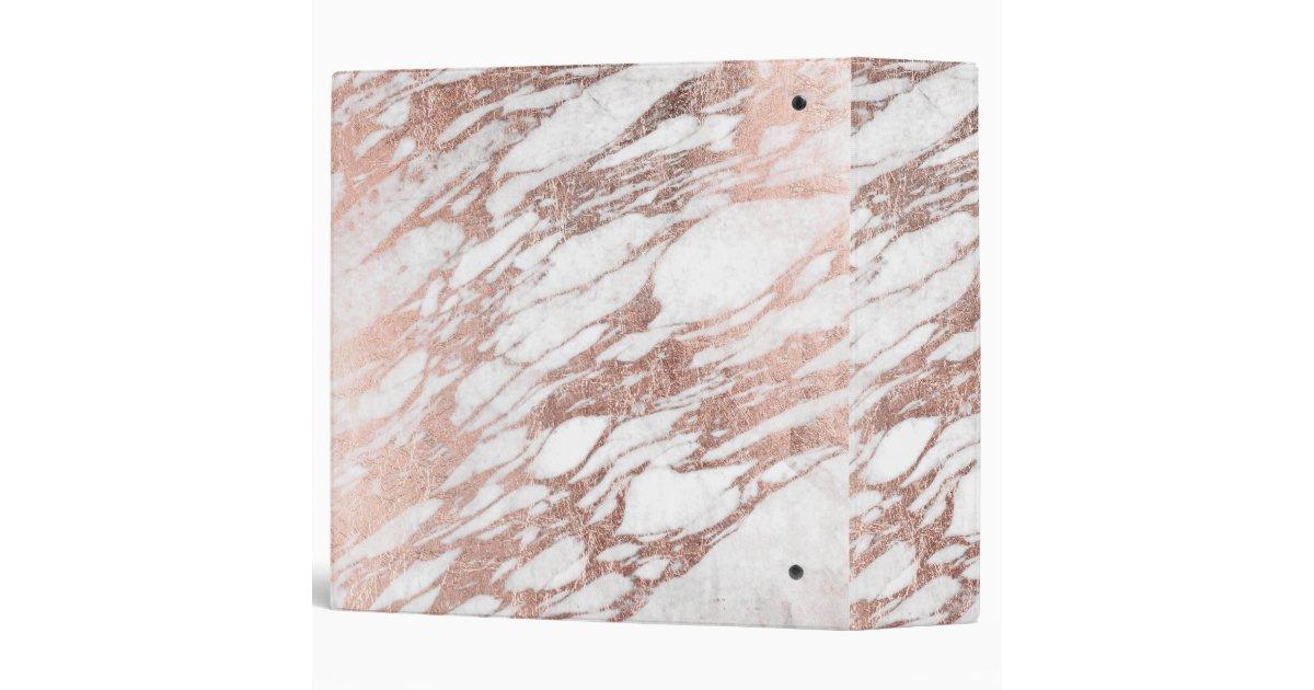 Chic Elegant White And Rose Gold Marble Pattern Binder