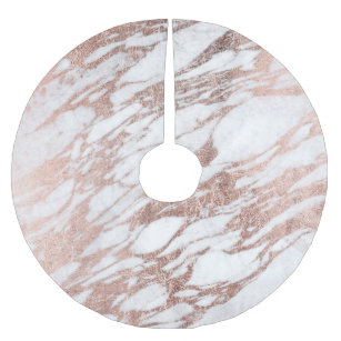 Chic Elegant White And Rose Gold Marble Pattern Brushed Polyester Tree Skirt
