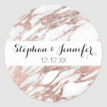 Chic Elegant White and Rose Gold Marble Pattern Classic Round Sticker