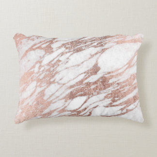 Chic Elegant White and Rose Gold Marble Pattern Decorative Pillow