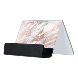 Chic Elegant White and Rose Gold Marble Pattern Desk Business Card Holder