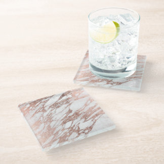 Chic Elegant White and Rose Gold Marble Pattern Glass Coaster