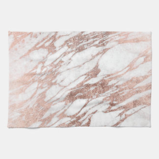 Chic Elegant White and Rose Gold Marble Pattern Kitchen Towels