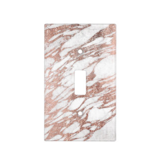 Chic Elegant White and Rose Gold Marble Pattern Light Switch Cover