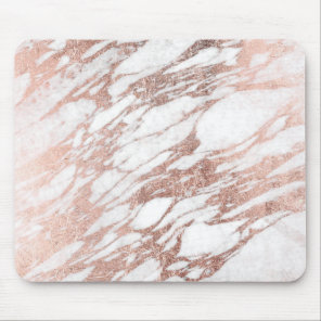 Chic Elegant White and Rose Gold Marble Pattern Mouse Pad
