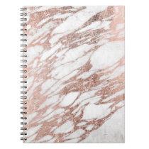 Chic Elegant White and Rose Gold Marble Pattern Notebook