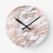 Chic Elegant White and Rose Gold Marble Pattern Round Clock