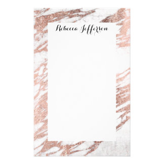 Chic Elegant White and Rose Gold Marble Pattern Stationery