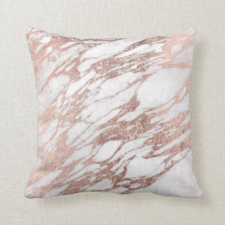 Chic Elegant White And Rose Gold Marble Pattern Throw Pillow at Zazzle