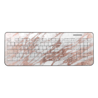 Chic Elegant White and Rose Gold Marble Pattern Wireless Keyboard