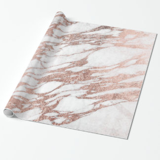 Chic Elegant White and Rose Gold Marble Pattern Wrapping Paper