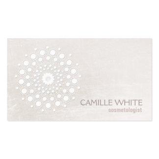 Chic Elegant White Circle Logo White Cosmetologist Business Card