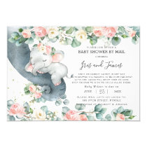 Chic Elephant Floral Virtual Baby Shower by Mail Invitation