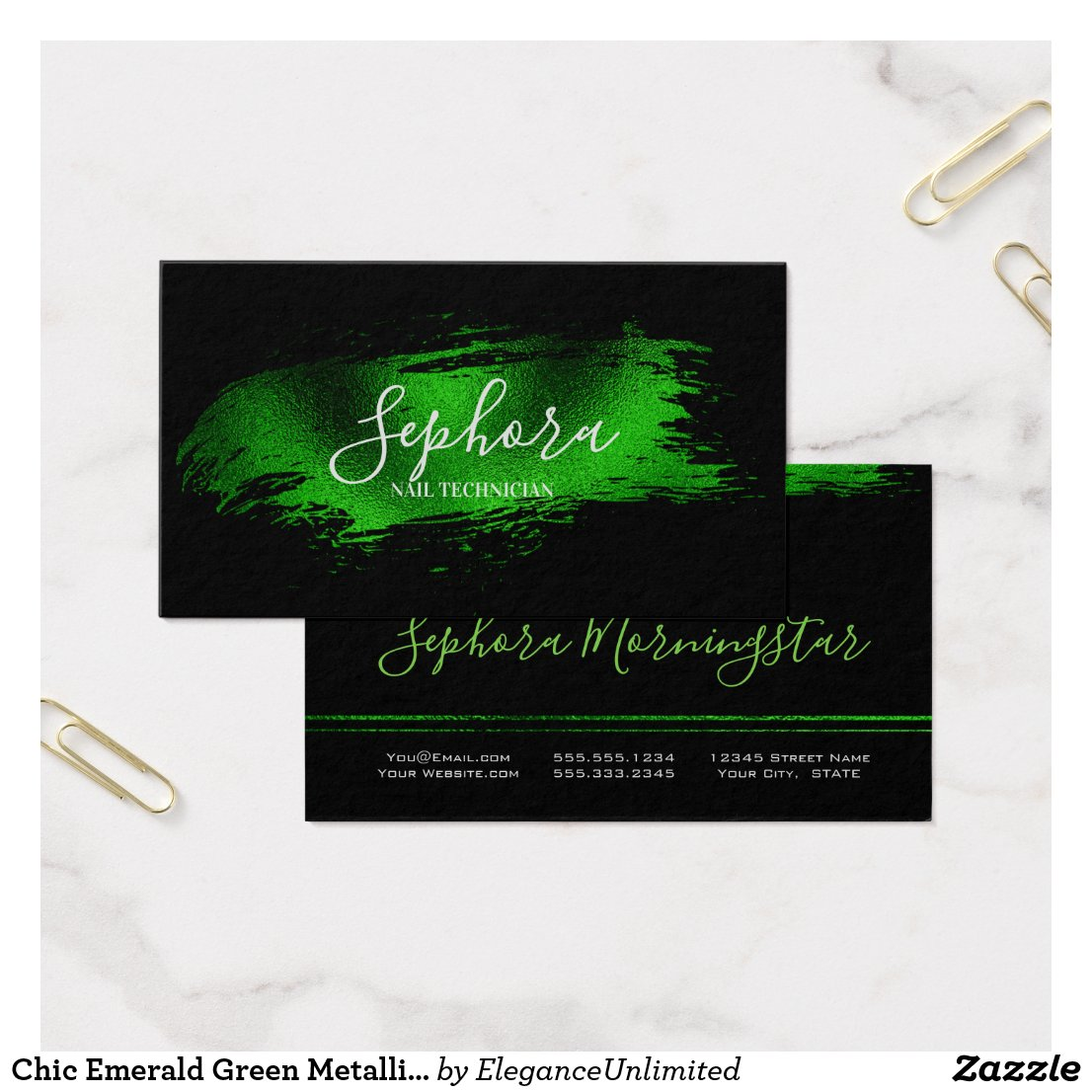 Chic Emerald Green Metallic Foil Paint Stroke