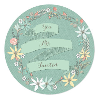 Chic Engagement Party Floral Wreath and Banner Card