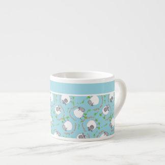 Chic Espresso Coffee Mug: Blue, Fun Sheep Patterns 6 Oz Ceramic Espresso Cup