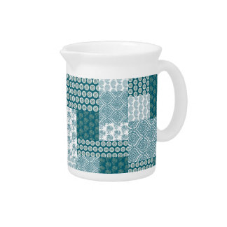 Chic Ethnic Faux Patchwork Pattern, Teal and White Drink Pitcher