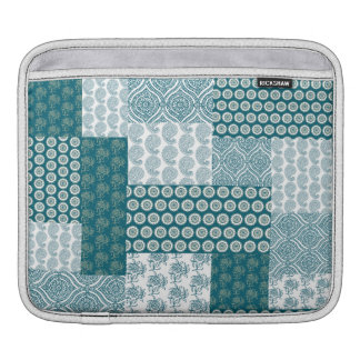 Chic Ethnic Faux Patchwork Pattern, Teal and White Sleeve For iPads