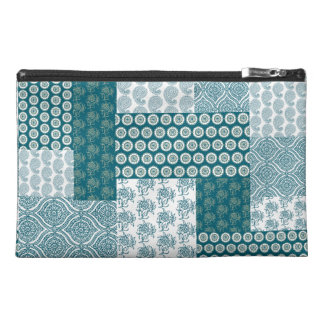Chic Ethnic Faux Patchwork Pattern, Teal and White Travel Accessory Bag