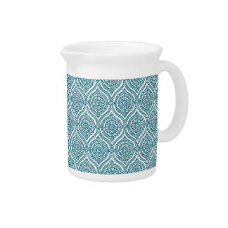 Chic Ethnic Ogee Pattern in Teal on White Beverage Pitcher