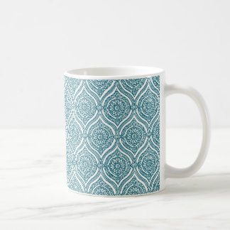 Chic Ethnic Ogee Pattern in Teal on White Coffee Mug