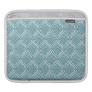 Chic Ethnic Ogee Pattern in Teal on White Sleeve For iPads
