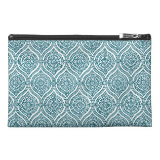 Chic Ethnic Ogee Pattern in Teal on White Travel Accessory Bag