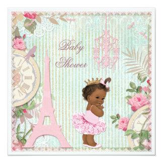 Chic Ethnic Paris Princess in Tutu Baby Shower Card