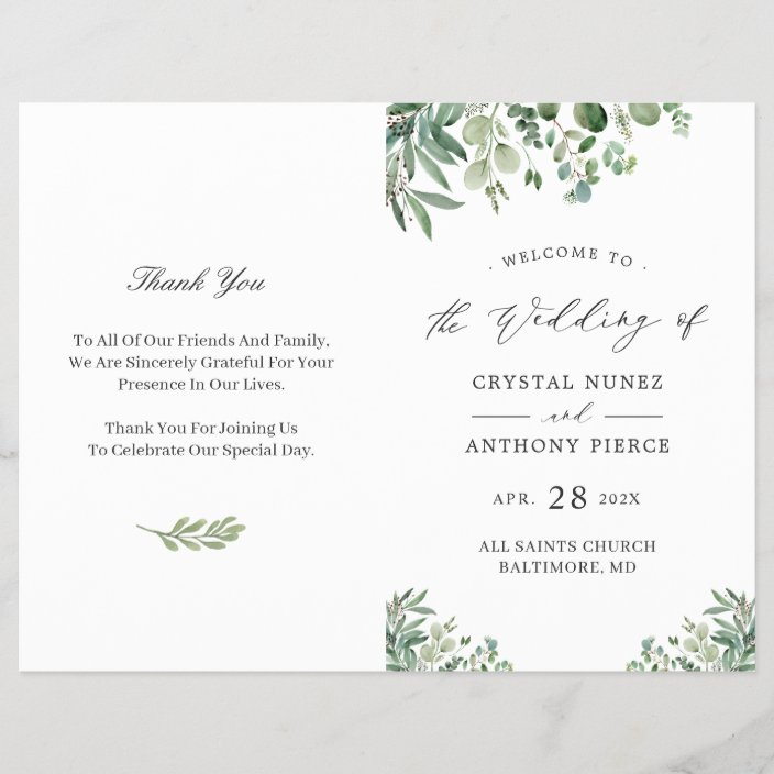 Easy Wedding Program Template from rlv.zcache.com