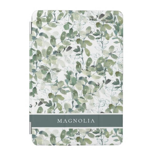 Chic Eucalyptus Monogram Name  iPad Mini Cover