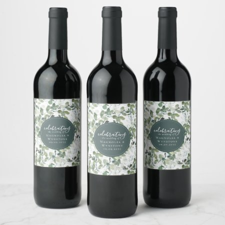 Chic Eucalyptus Wedding  Wine Label