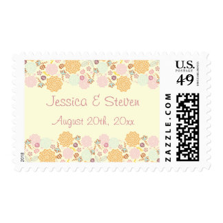 Chic Fancy Modern Floral Wedding Postage