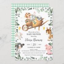 Chic Farm Animals Barnyard Greenery Baby Shower  I Invitation