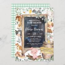Chic Farm Animals Barnyard Greenery Baby Shower  Invitation