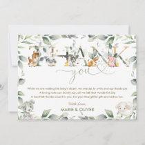 Chic Farm Animals Greenery Baby Shower Birthday Th Thank You Card
