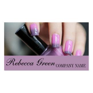chic fashion beauty salon ombre purple nail artist business card