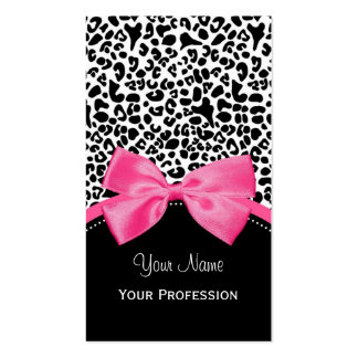 Chic Fashion Leopard Print With Hot Pink Ribbon Business Card Template