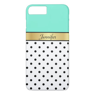 Chic Fashionable Mint Green Turquoise & Polka Dots iPhone 8 Plus/7 Plus Case