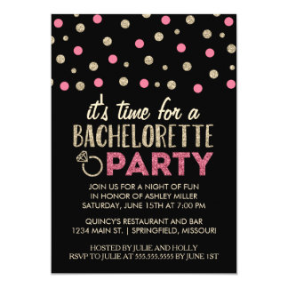 Chic Faux Glitter Bachelorette Party Invitations
