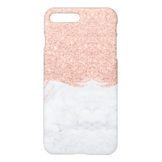 Chic faux glitter rose gold brushstrokes marble iPhone 7 plus case